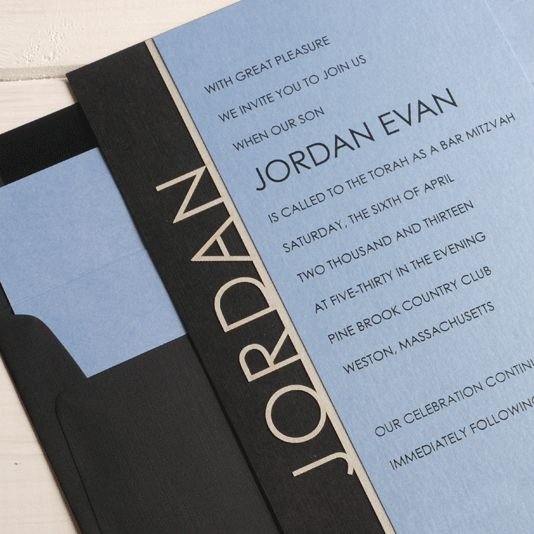 Die-cut letters-on-a-line Bar Mitzvah invitation by Luscious Verde Cards