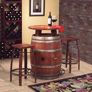 Vintage Oak Wine Barrel Bistro Table & Bar Stools --- I have the wine barrel, maybe I can find someone to make it into a table..
