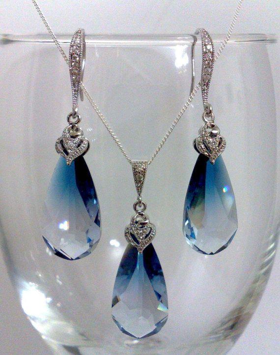 Nautical Beach Weddings, Something Blue Ombre Swarovski Jewelry, Bridal Party Earrings, Teardrop Necklace, OCEAN BLUE SET