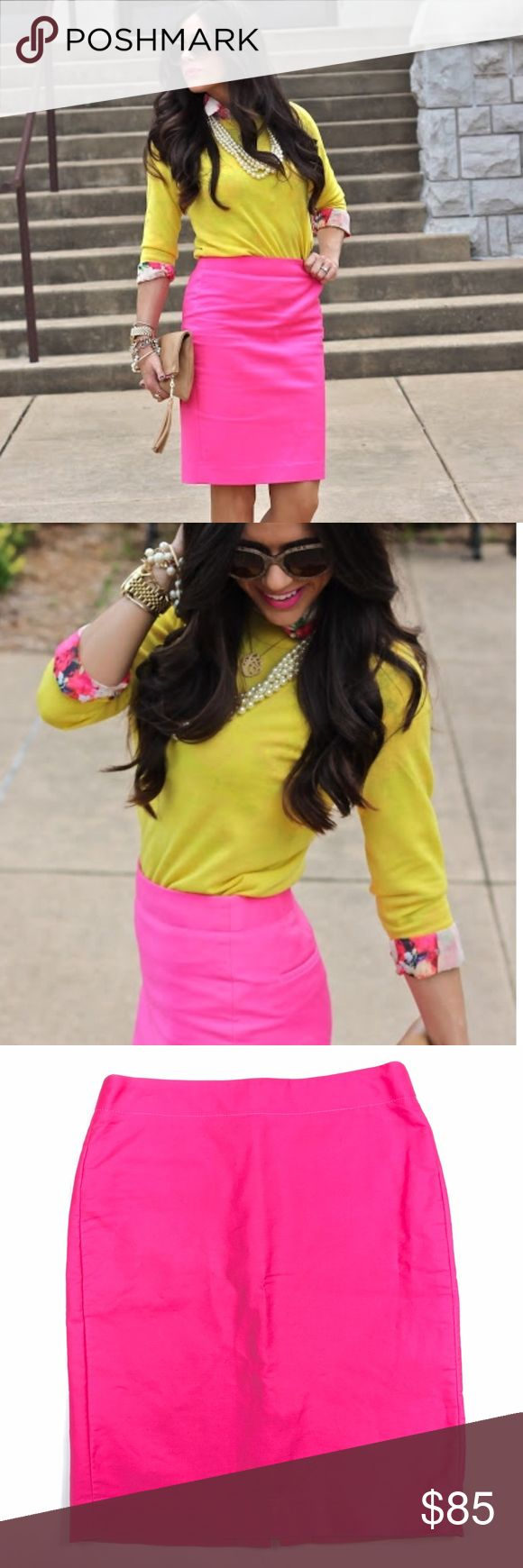 J. Crew Hot Pink # 2 Pencil Skirt Brand new WITHOUT tags! Trendy and classic! Stunning hot pink color. J. Crew Skirts