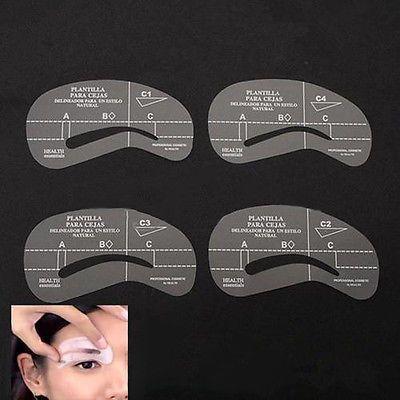4 estilos Grooming Kit Stencil maquiagem Shaping Diy Template sobrancelha decente ferramentas alishoppbrasil