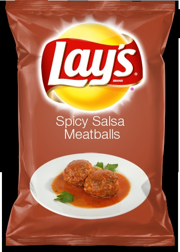 Spicy Salsa Meatballs Love Spicy Salsa Meatballs? This flavor would make a great lays chip flavor!
