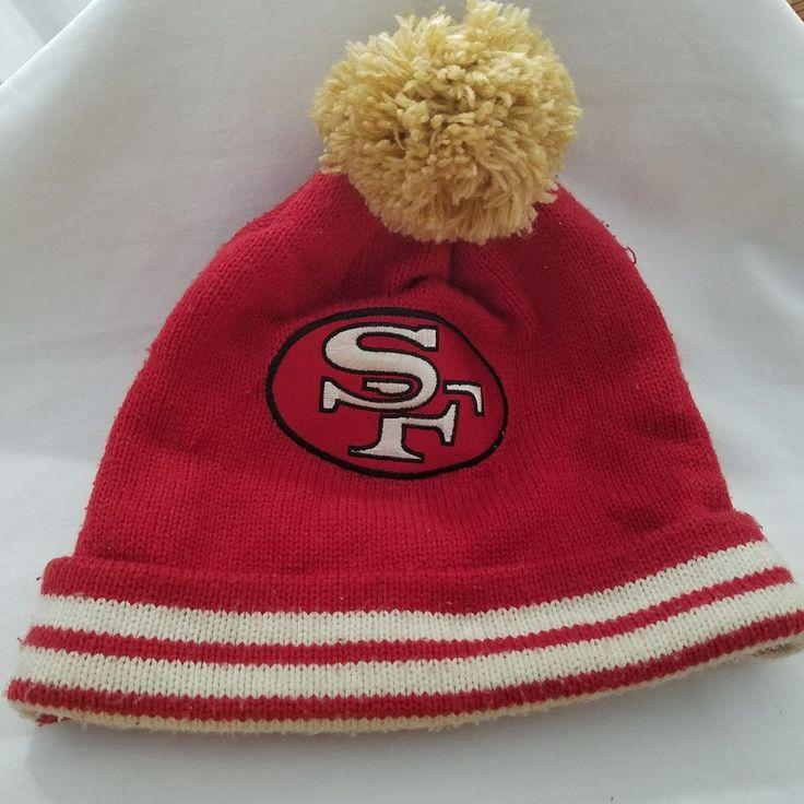 San Francisco 49ers Mitchell Ness NFL Stripe Cuff Mens Beanie Knit Pom Cap Hat  #MitchellNess #Beanie
