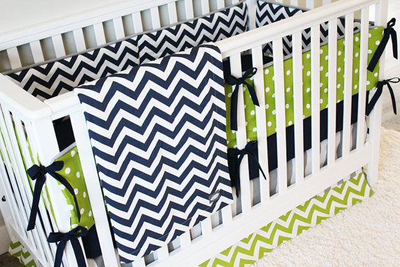 Custom Crib Bedding - Navy Chevron, Lime Green Chevron and Grey Stripe Baby Boy Bedding