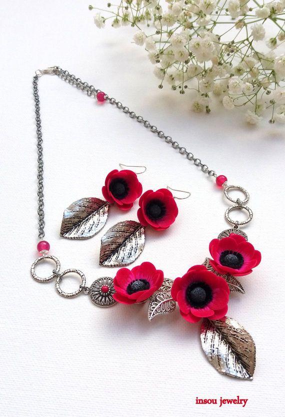 Flower Jewelry Hot Pink Jewelry Anemone Windflower by insoujewelry