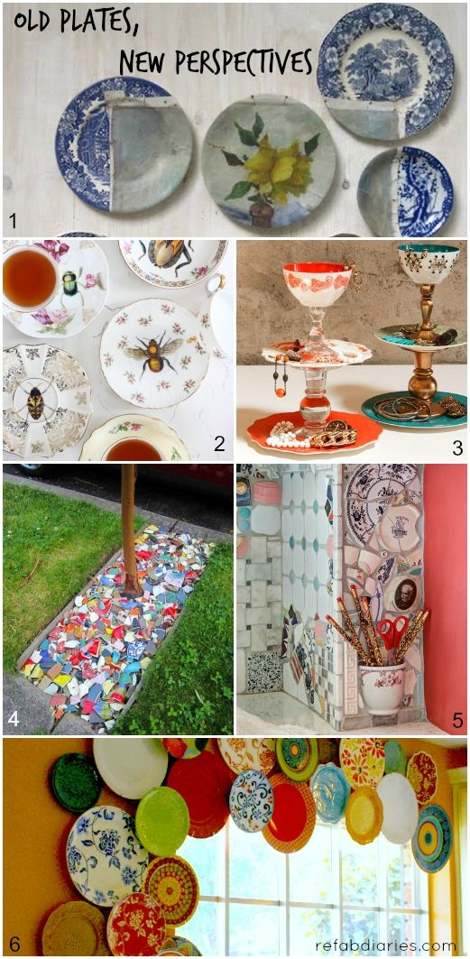 Fresh ideas for repurposing and hanging old plates (dinnerware, crockery).