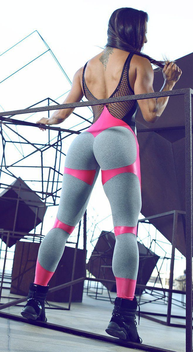 419f2d0b5c516 Brazilian Workout Jumpsuit - Apple Booty Fitness Jumpsuit Gray & Pink