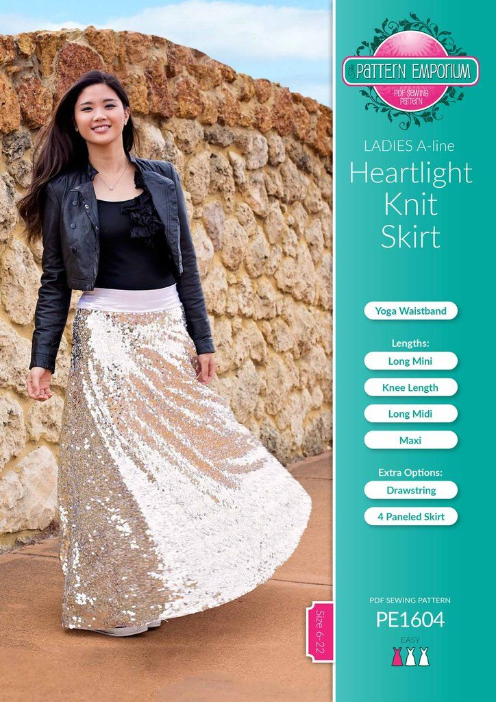 Ladies Heartlight Skirt sewing pattern. Sew yourself an A-line Stretch Knit Skirt with comfortable yoga-style waistband in Mini, Knee Length, Midi or Maxi.