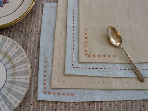embroidered placemats & detail