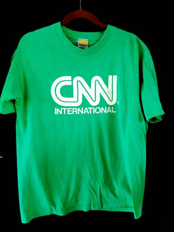 Vintage CNN INTERNATIONAL Cable News Network Made In USA Large sz T Shirt by ArenaVintage