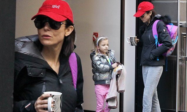 Bethenny Frankel walks daughter Bryn, six, to school in Manhattan