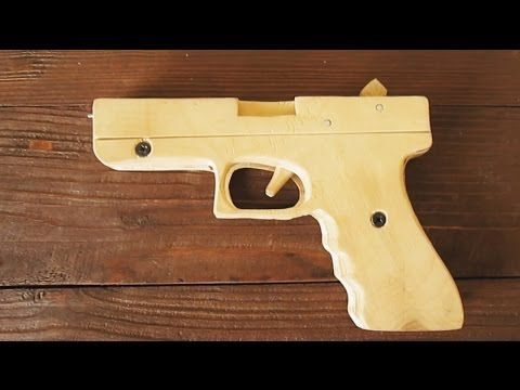 How to make EASY!!! Glock 17 [rubber band gun] tutorial wood Free template - YouTube