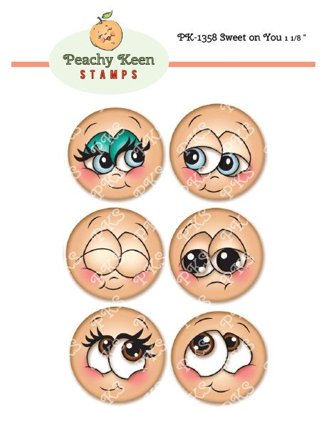 PK-1358 Sweet on You 1 1/8: Peachy Keen Stamps | Home of the original clear, peach-tinted, high-quality whimsical face stamps.