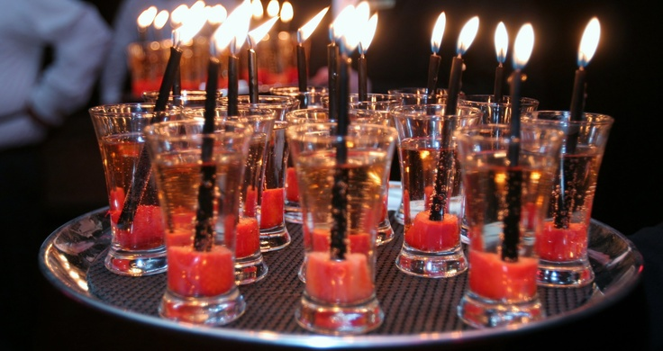 Champagne Birthday Shots Candle Is Inserted In A