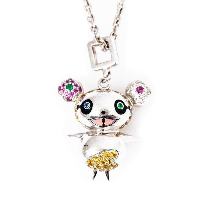 Custom Murakami Sakura Panda And Panda Cubs Pendant Necklace Chain Pendants Panda Pendant Necklace