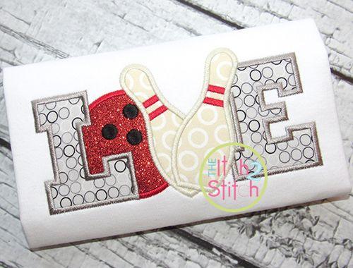 I2S Bowling Love Applique design