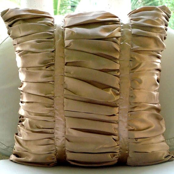 Decorative Throw Pillow Covers 16x16 Ruched Satin Pillow Cover Contemporary Couch Pillows Bed Pillows Pillow Cases Beige Pillows Lush