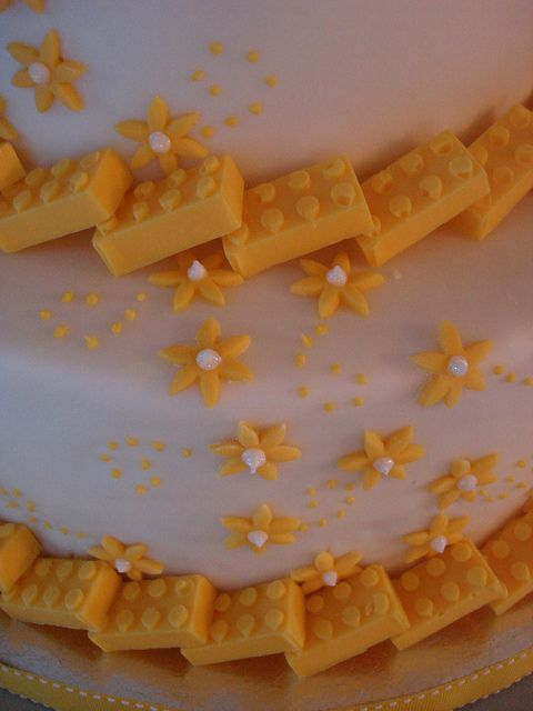 Lego Wedding Cake detail - Legos were made with self-made silicone putty mold and yellow candy melts.
