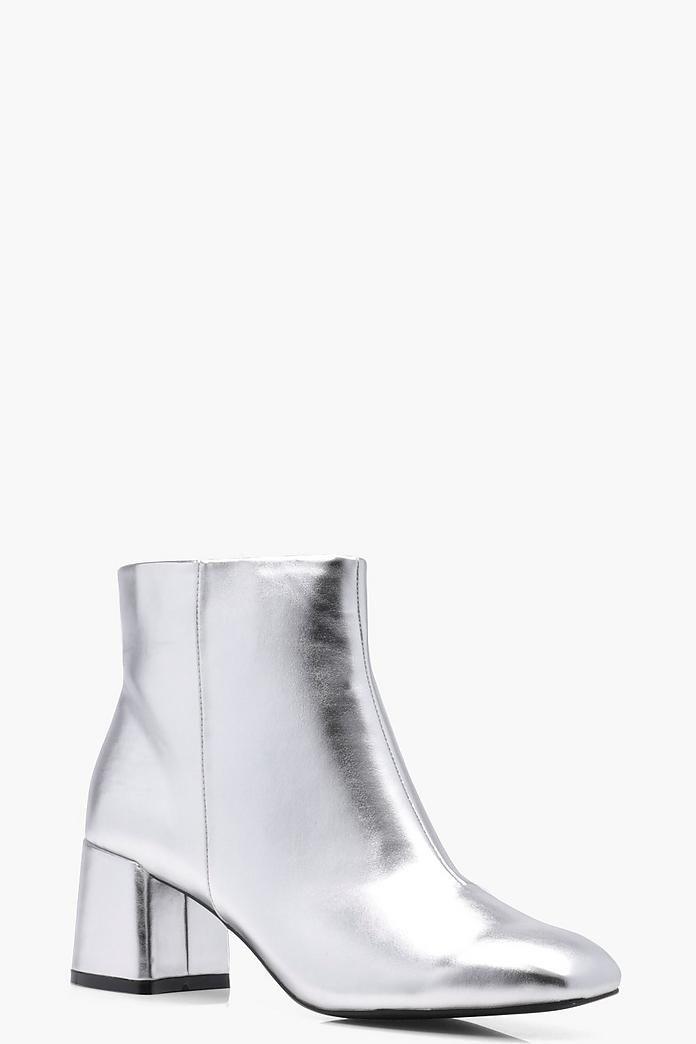 Daisy Metallic Block Heel Ankle Boot
