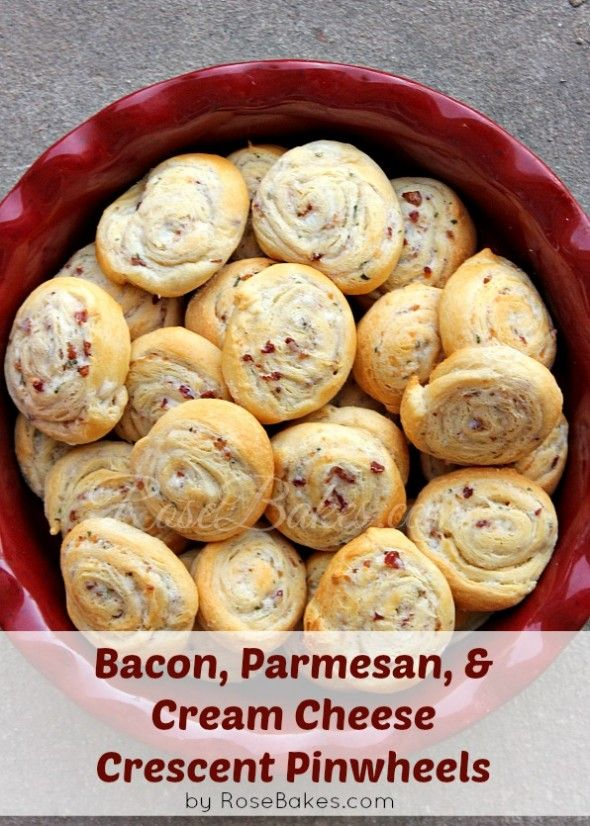 Bacon, Parmesan & Cream Cheese Crescent Pinwheels!  Easy, fast and delicious!!  #recipe #bacon #creamcheese