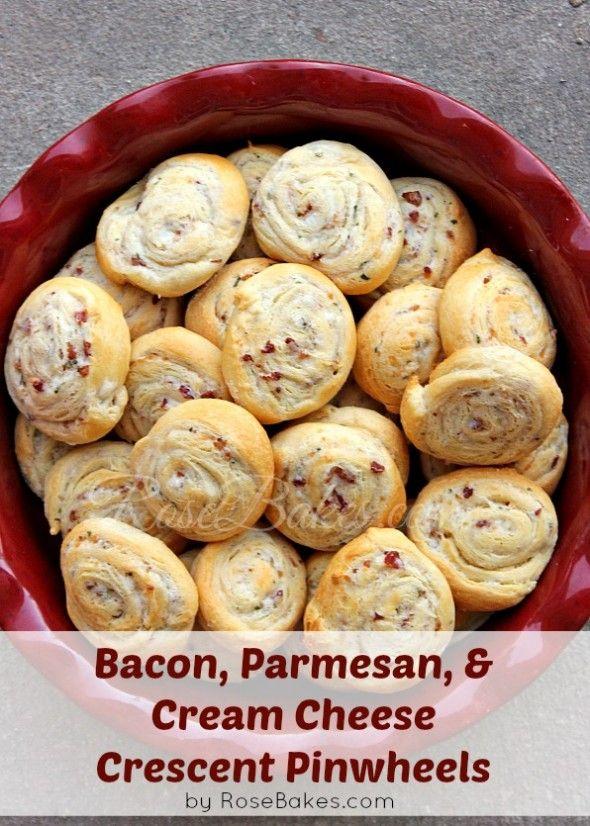 Bacon, Parmesan & Cream Cheese Crescent Pinwheels!  Easy, fast and delicious!!  #recipe #bacon #creamcheese