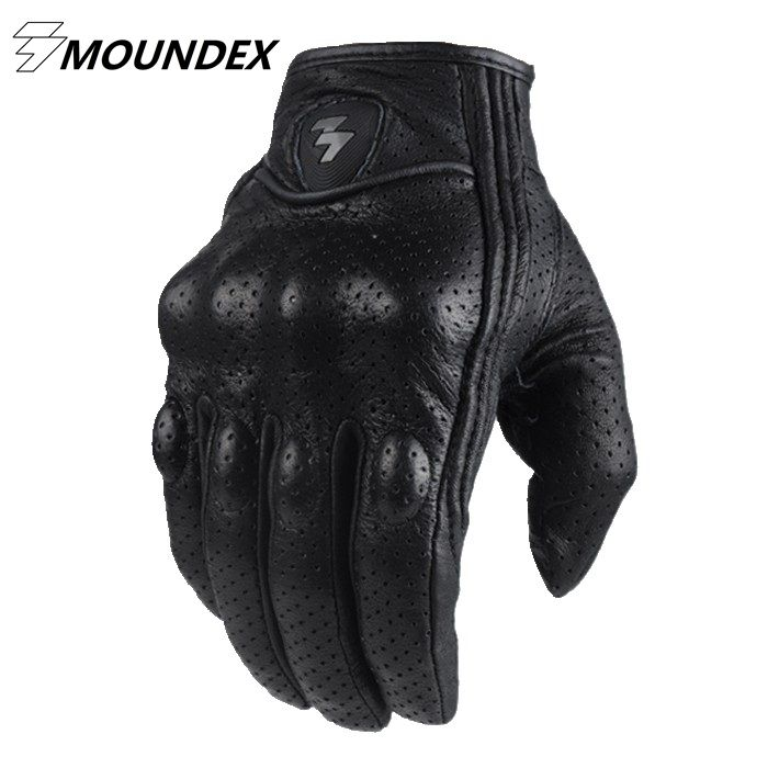 Fashion Glove real Leather Full Finger Black moto men Motorcycle Gloves Motorcycle Protective Gears Windproof Motocross Glove  Style 1 is non perforated glove: No Hole Style 2 is perforated style glove: with holes More Breathable     This glove is small. It is better for you to choose 1 size bigger. It is will be a little small for you if you not choose 1 size bigger.