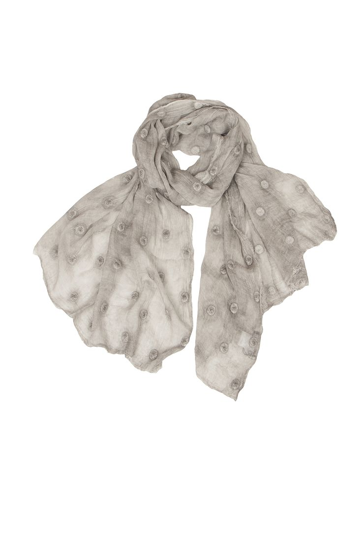Grey silk & modal mix scarf, tyedyed & embroidered. So beautiful, made in Italy... www.marygrant.com