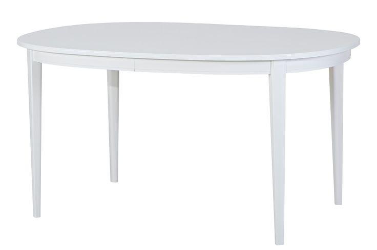 Klassiskt ovalt matbord i vitt inklusive 2 illäggsskivor. Ingår i serien Lackö, en vacker och välgjord möbel i klassisk, enkel stil. En möbel som överlever alla modetrender och blir en prydnad för hemmet för alltid. Tillverkningen av Lackö-serien startade 1949. Från Stalands.