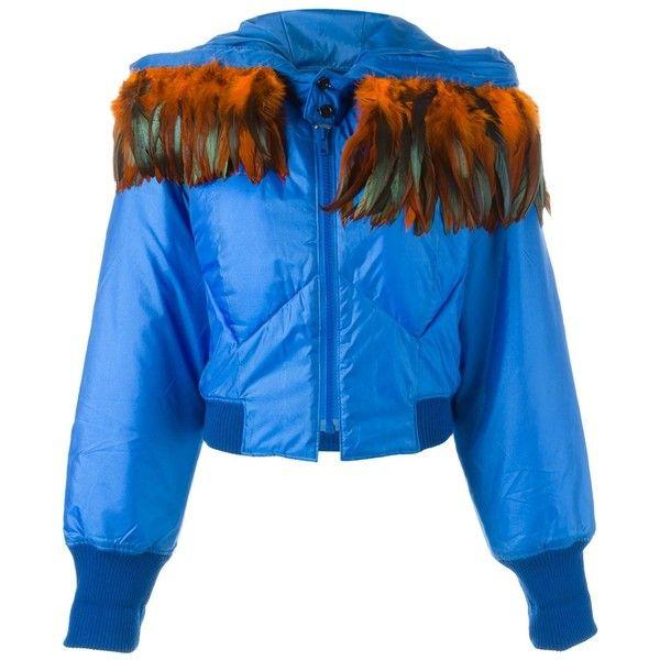 Yohji Yamamoto Vintage Padded Bomber Jacket ($1,391) ❤ liked on Polyvore featuring outerwear, jackets, blue, flight jacket, blouson jacket, blue jackets, long sleeve crop jacket and wool blend jacket