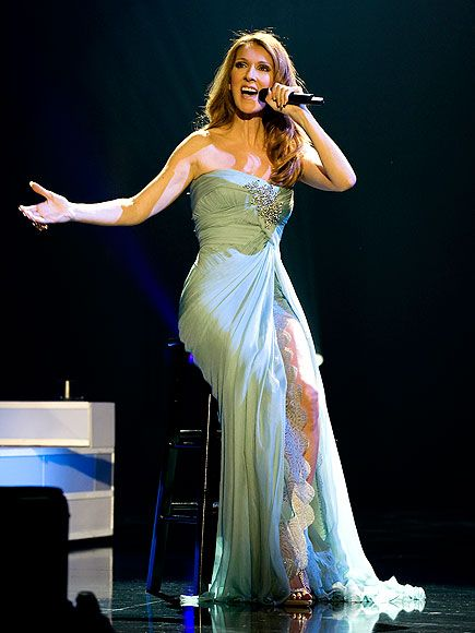 Celine Dion in mint green Elie Saab couture gown--love it.
