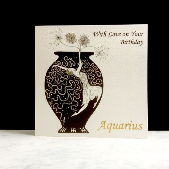 Birthday Sign  Aquarius Sign by ImagePlusCards on Etsy