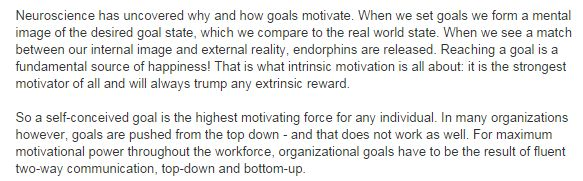 Can you please describe the results you have achieved with goal setting?