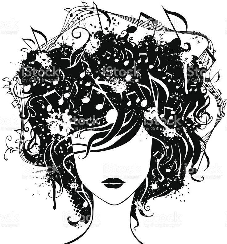 Абстрактный женщина с музыкой в волосах royalty-free stock vector art