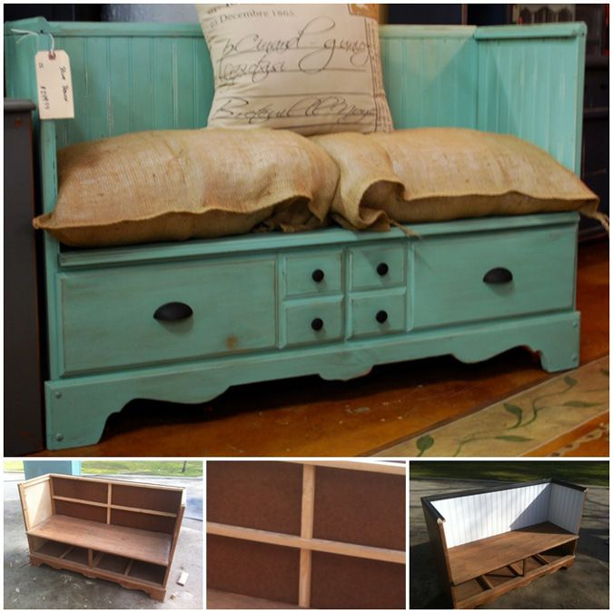 Sometimes these dressers are a GREAT price but you don't need another one. Here's a great trick to repurpose dresser to a bench.