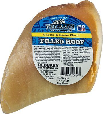 Redbarn Cheese n' Bacon Filled Cow Hooves Dog Treats, 4-in chew, 1 count - Chewy.com