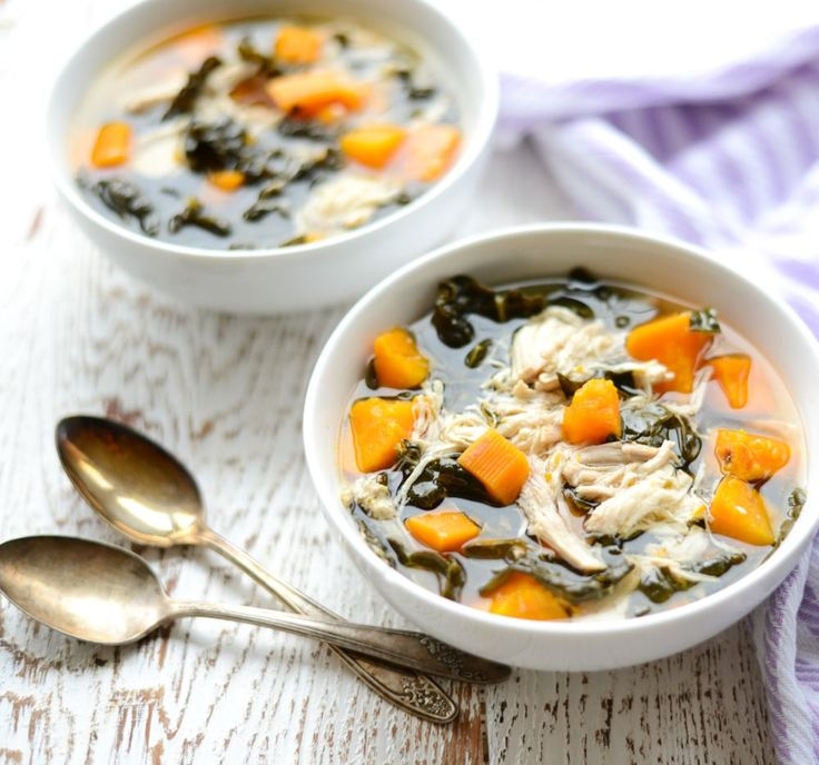 """This Slow Cooker Chicken, Kale, and Sweet Potato Stew is hearty, delicious,  and packed with protein and veggies. And, with only six ingredients you can  throw this meal together in a matter of minutes!  Have you ever done a juice cleanse? You know, drinking only fresh pressed  juice for a day or more to reset, de-puff, and generally reset?  I have to say, I love the idea of a juice cleanse but I think I like  actual food too much to do one. I do, however, like the idea of a diet  """"reset,""""…"""
