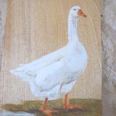 Oie blanche peinte sur bois de Françoise Robo