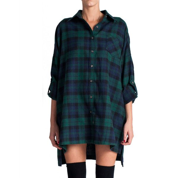 Plaid Flannel Shirt Dress Green (45 AUD) ❤ liked on Polyvore featuring dresses, shirts, tops, outfits, blue plaid dress, green dress, plaid flannel dress, t-shirt dresses and long sleeve shirt dress
