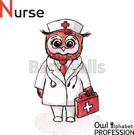 """""""Alphabet professions Owl Letter N - Nurse character Vector Watercolor."""" - Classroom decor posters and prints available at Barewalls.com"""
