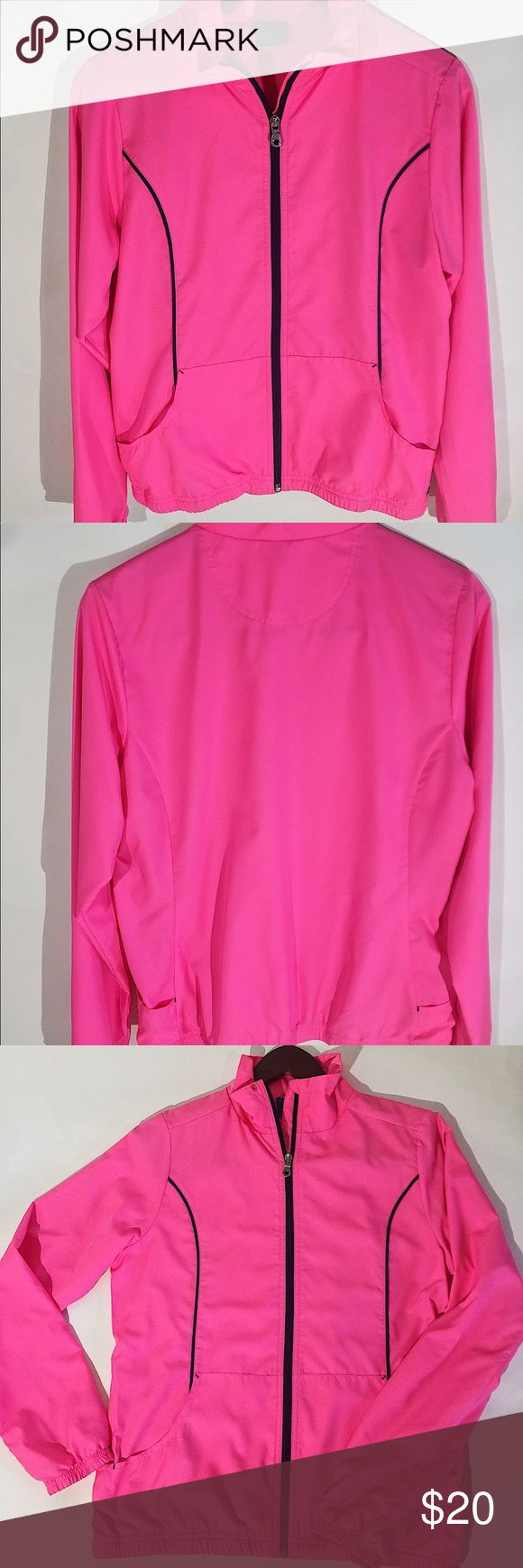 "Women's Pink Reebok Jacket Size Medium This is a beautiful bright pink Reebok full zip up jacket. It is in a size medium.  There is a slight stain on the front of the jacket (which is shown in the pictures) but you have to look for it to really notice it. Other than that it is in great condition.  The sleeve cuffs and the bottom part of the jacket are elastic.   It measures approximately 27 1/2 inches in length, the underarm to underarm measures 19 1/2 inches, and the sleeve length is 26""…"