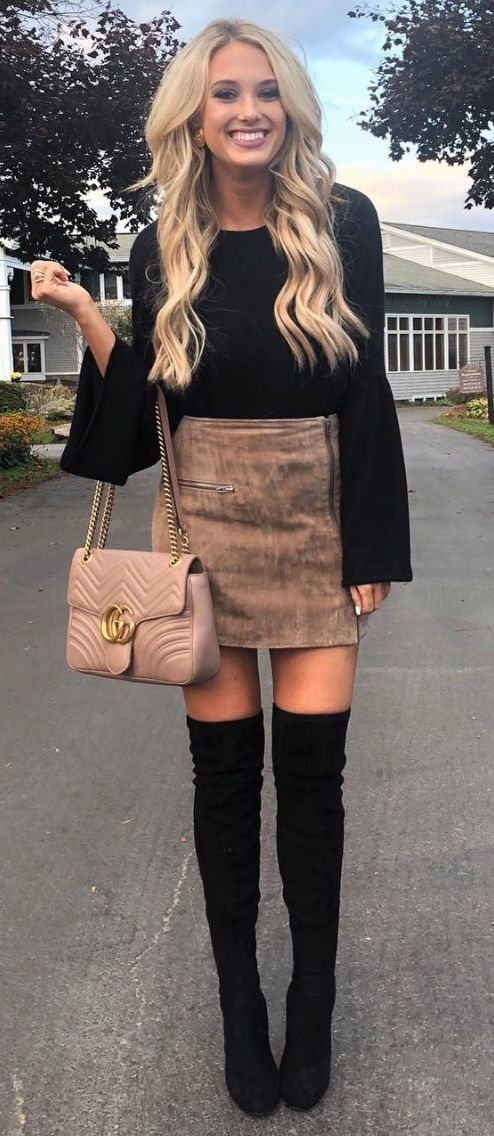 #fall #outfits women's red long sleeve blouse , brown skirt and black thigh high boots