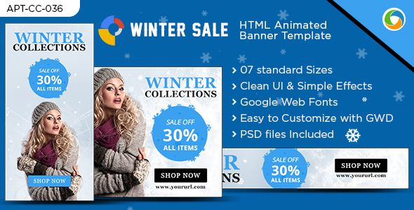 Winter Sale HTML5 Ad Banner  Winter Sale Ad Banner is designed - For Sale Ad Template