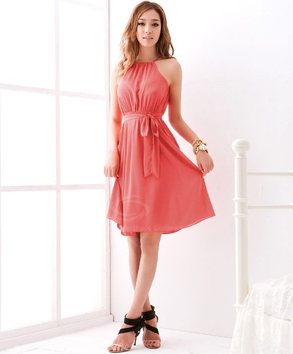 Graceful Off-The-Shoulder Solid Color Chiffon Dress With Petticoat For Women (WATERMELON RED,ONE SIZE) | Sammydress.com