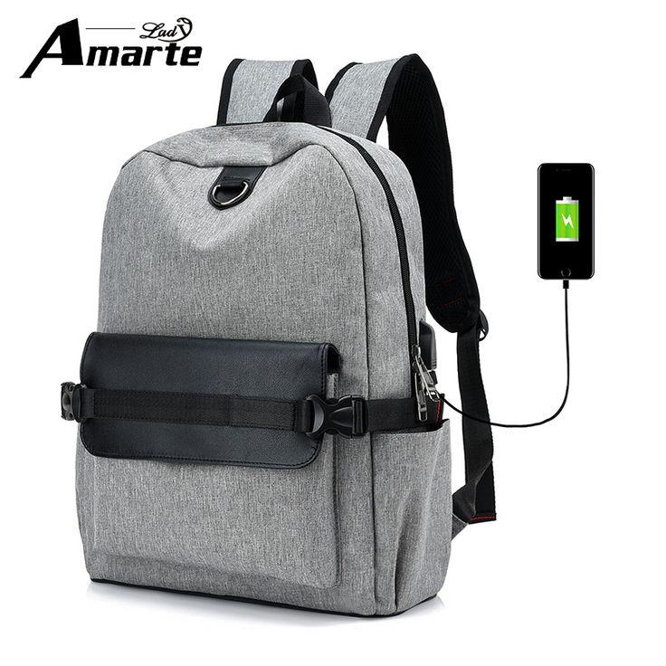 Amarte Women Men Canvas Backpacks USB External Designer Laptop Backpack Big Capacity School Bags for College Students Travel Bag #Affiliate