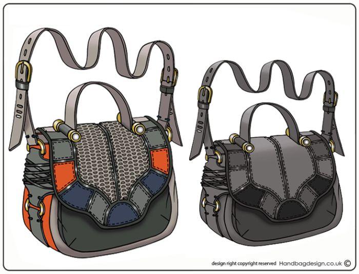 Handbag / Purse design illustration sketch drawing - CAD / Computer rendered by Emily O'Rourke at Coroflot.com