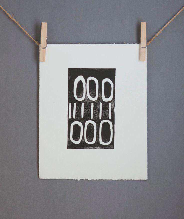 Hand Pulled Linocut Black Mid Century Modern art poster 8 x 10 Modern linocut artist by RetroModernArt on Etsy https://www.etsy.com/listing/111197675/hand-pulled-linocut-black-mid-century