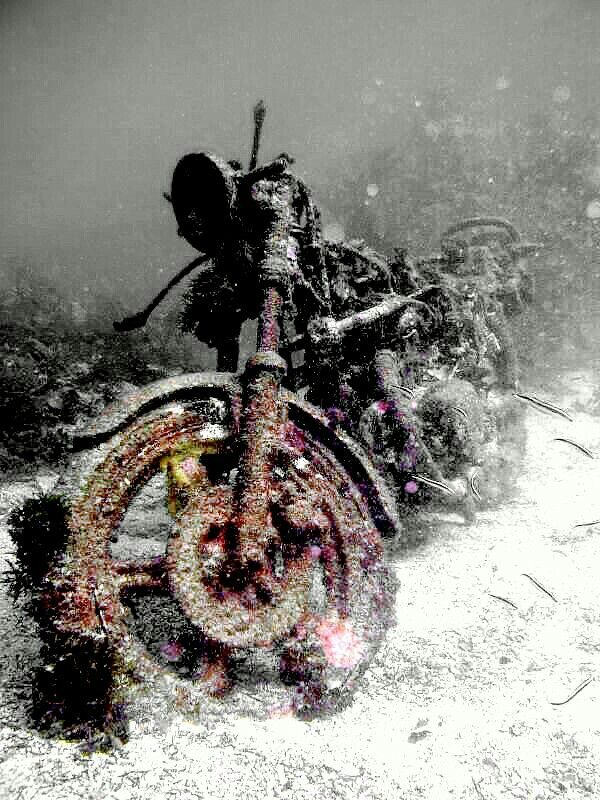 Norm finally had the bike of his dreams.  Unfortunately, he neglected to repay the loan shark & it's believed that he and his bike are chained together,  somewhere on the bottom of Lake Erie. (darkart.ink)