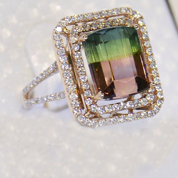 tourmaline and diamond rose gold engagement ring