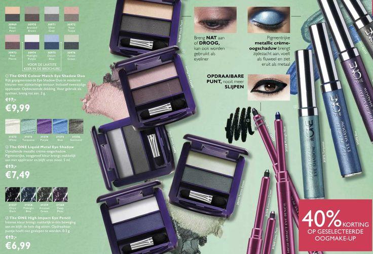 Oog make-up met 40% korting Oogschaduw duo's waarvan de kleuren ook met een nat penseel te gebruiken zijn wardoor een intensievere kleur ontstaan. Eye Pencils, draaibare oogpotloodjes Metallic vloeibare oogschaduw in felle kleuren