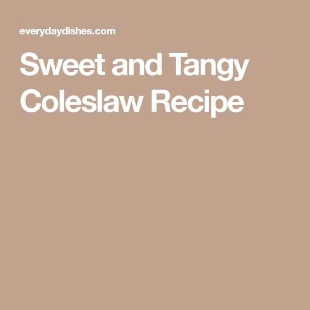 Sweet and Tangy Coleslaw Recipe